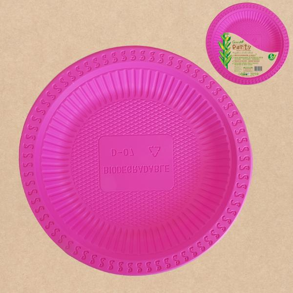"PLATO GREEN PARTY 7""  FUCSIA  6 UNIDADES"