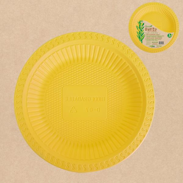 "PLATO GREEN PARTY 7""  AMARILLO 6 UNIDADES"