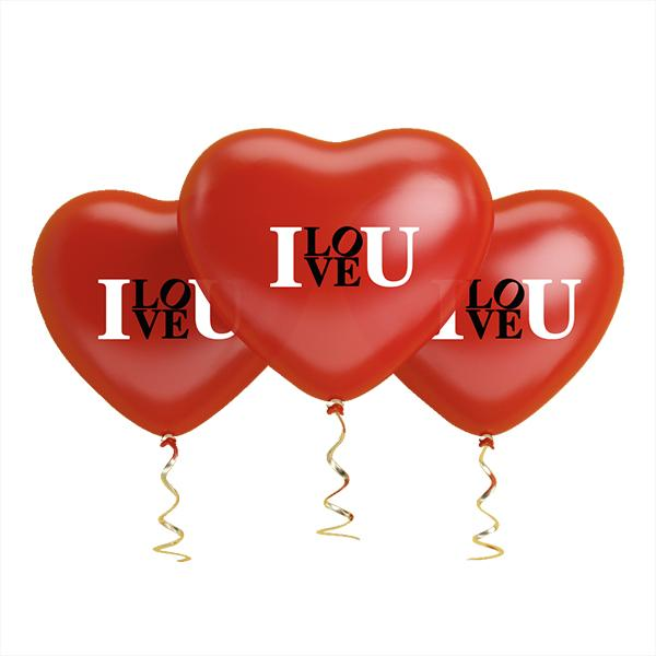 "GLOBO CORAZON ""I LOVE YOU"" ROJO   12 UNIDADES"