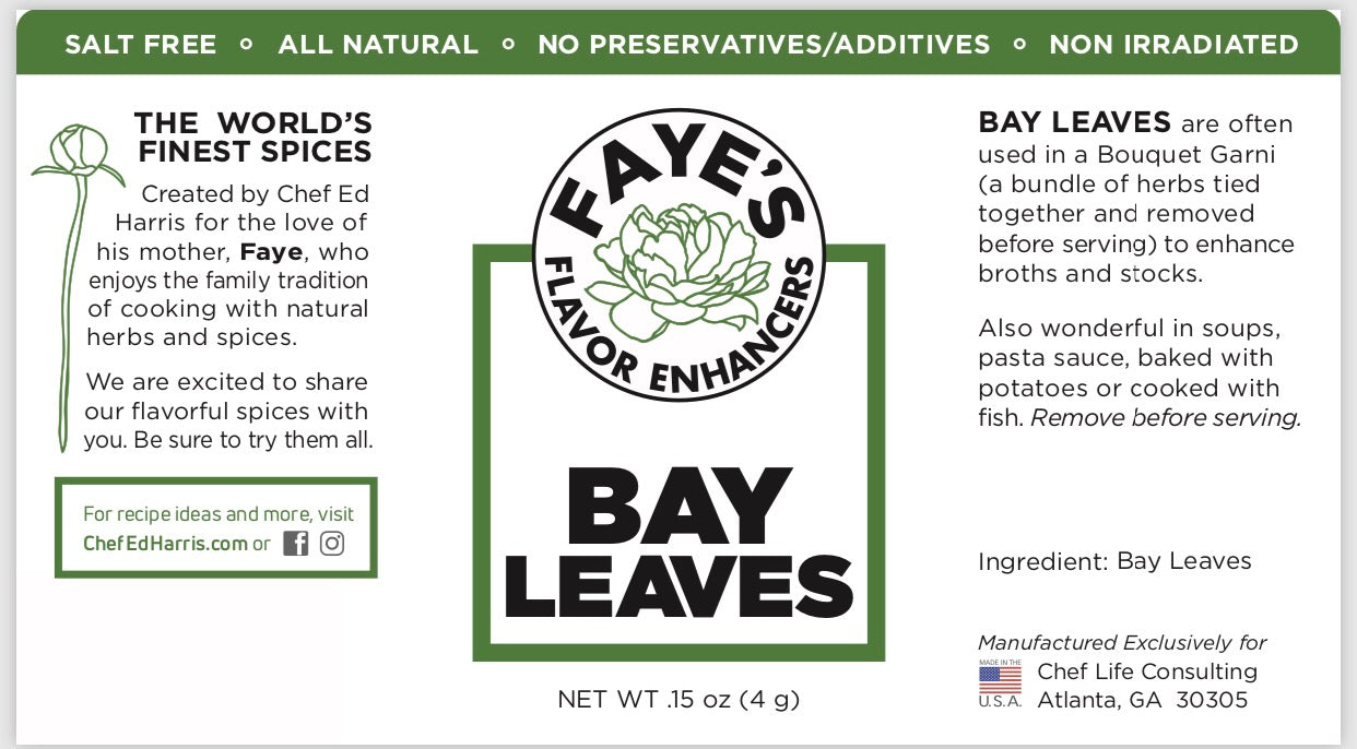 ALL NATURAL WHOLE BAY LEAVES - CHEF ED HARRIS