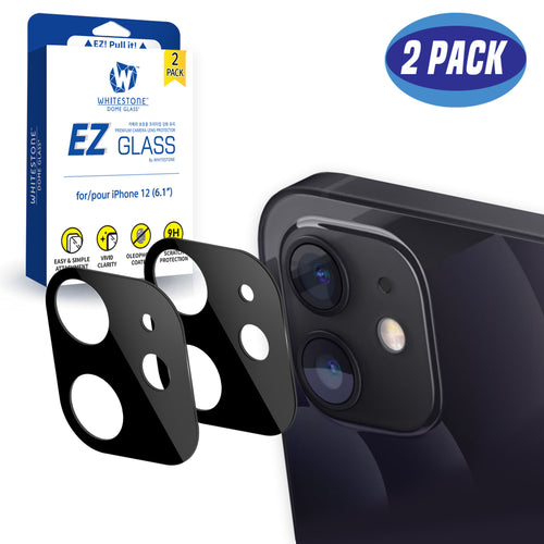 Whitestone EZ iPhone 12 Camera Screen Tempered Glass Protector - 2 Pack (6.1