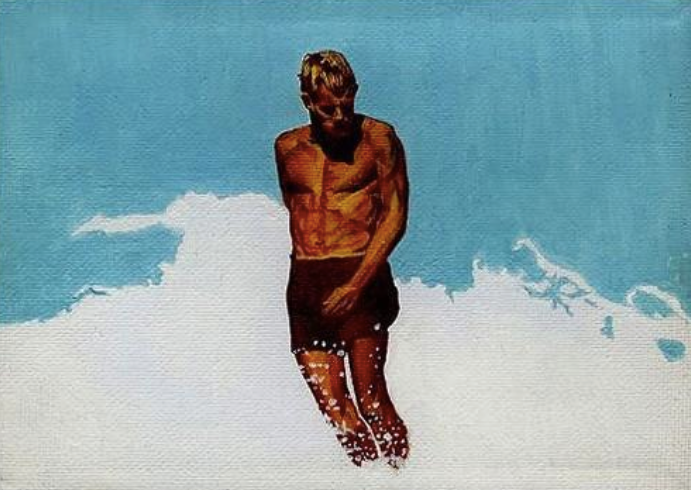 Mitchell English, Body Surfers, Original Painting, Midget Series, Surf Art