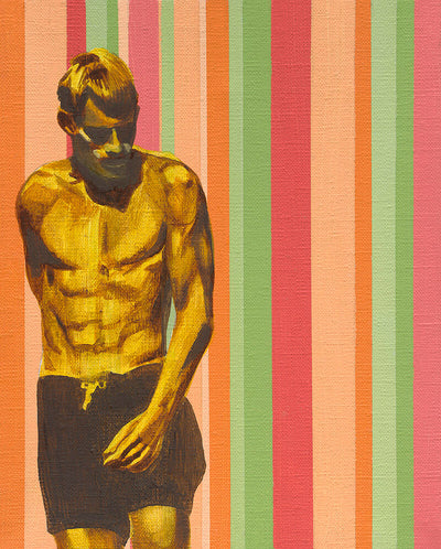Candy Striped Surfer, by Mitchell English, available as a limited edition fine art print