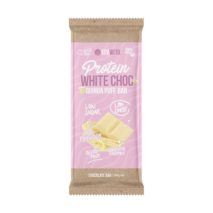 Vitawerx Chocolate Bar - White Quinoa Puff 100g
