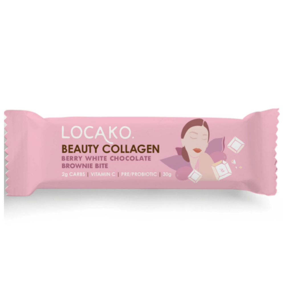 Locako Beauty Collagen Brownie Bite Berry White Chocolate 30g