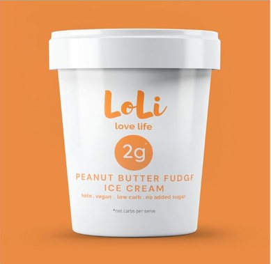 Loli Peanut Butter Fudge Vegan Keto Ice Cream