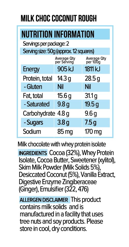 Vitawerx Chocolate Bar - Milk Coconut Rough 100g