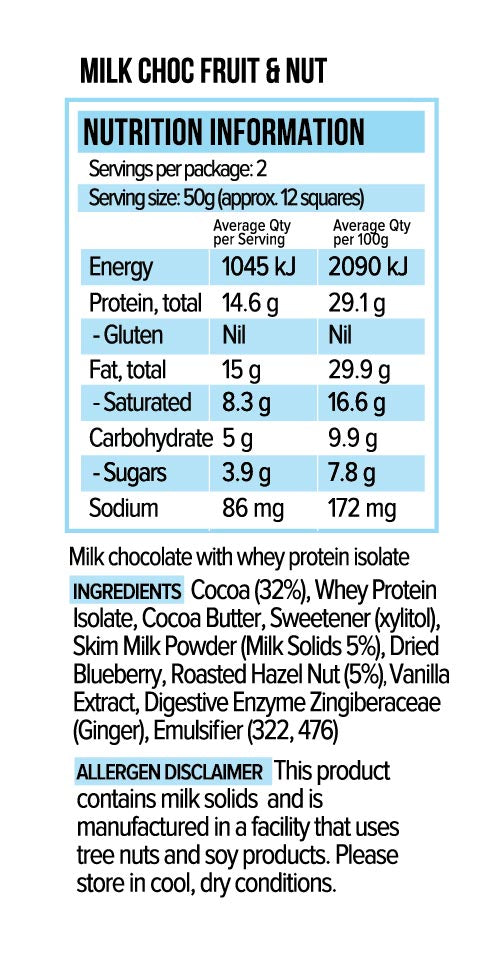 Vitawerx Chocolate Bar - Milk Fruit & Nut 100g