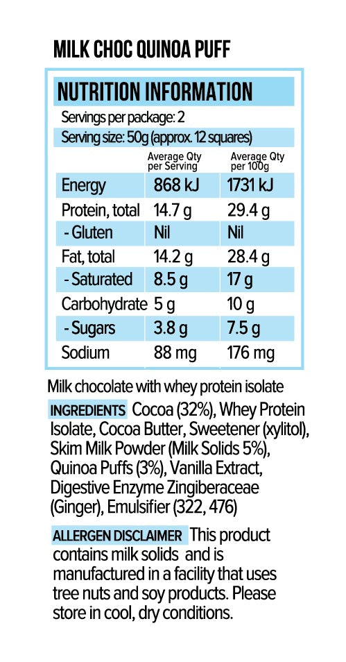 Vitawerx Chocolate Bar - Milk Quinoa Puff 100g