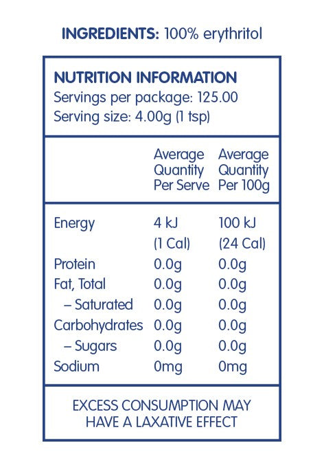 Erythritol 500g Pouch