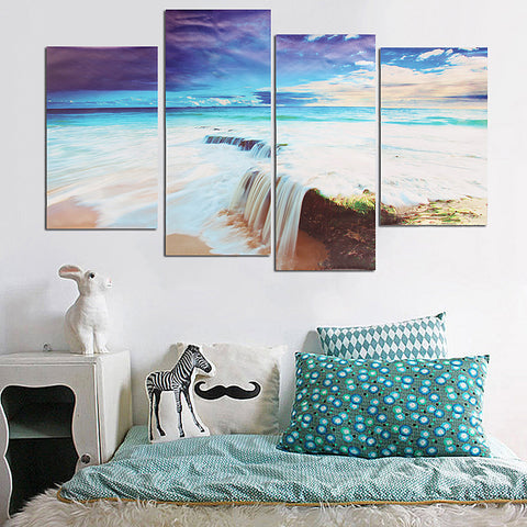 4 Piece Relaxing Beach Painting