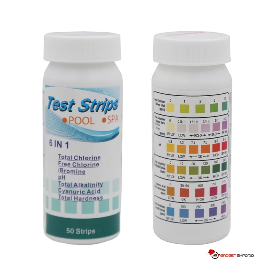 6 In 1 Pool Water Test Strips for Pools and Spas - GadgetEmporio.com