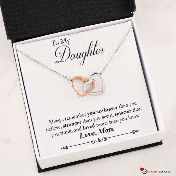 Beautiful Interlocking Hearts Necklace w Special Gift Message - To my Daughter love Mom - GadgetEmporio.com