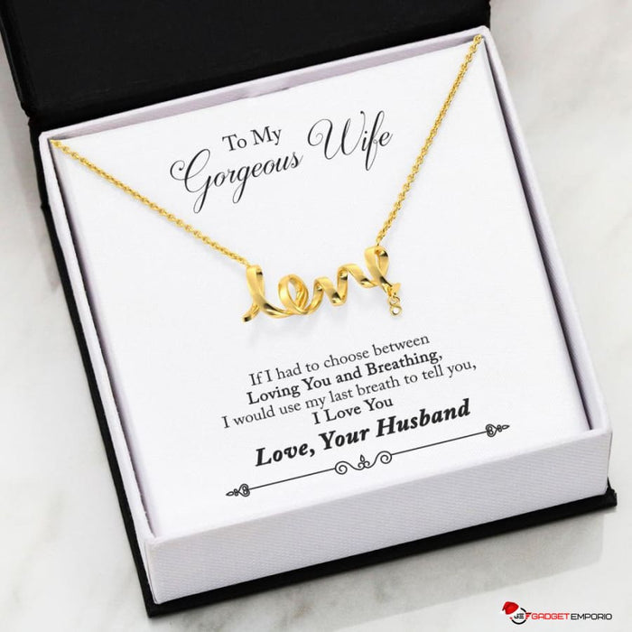 Beautiful Scripted 3D Love Necklace w Special Message, To My Wife from Husband.. - GadgetEmporio.com