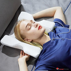 Curved Arch Memory Foam Cervical Neck Pillow with Hollow Arm Design for Couples & Side Sleepers