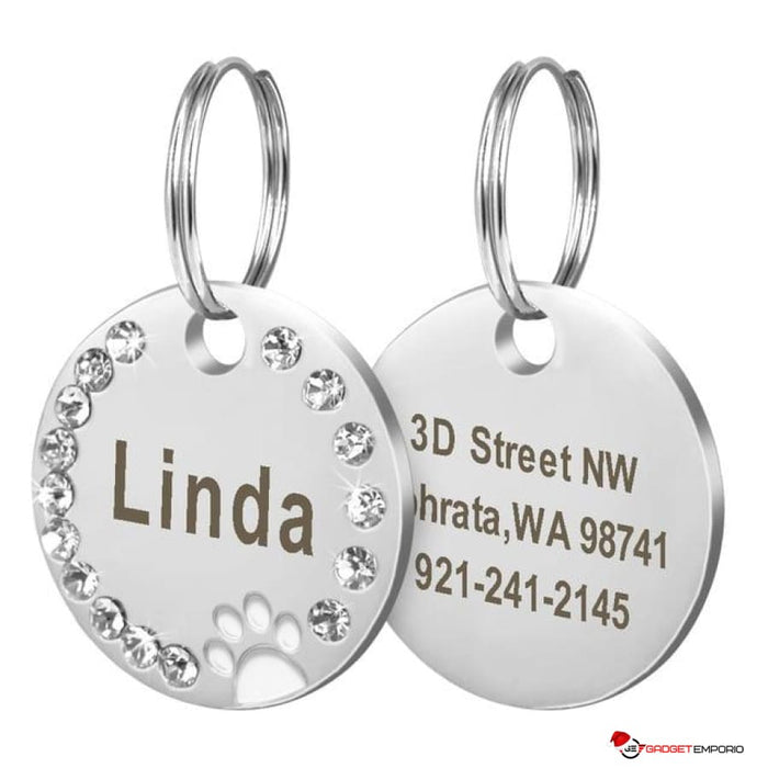 Customized Engraved Stainless Steel Pet Puppy or Cat Name ID Tag for Dog Collar - GadgetEmporio.com
