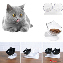 Double Cat Shaped Feeding Bowls with Raised Stand for Food and Water Bowls For Cats or Dogs