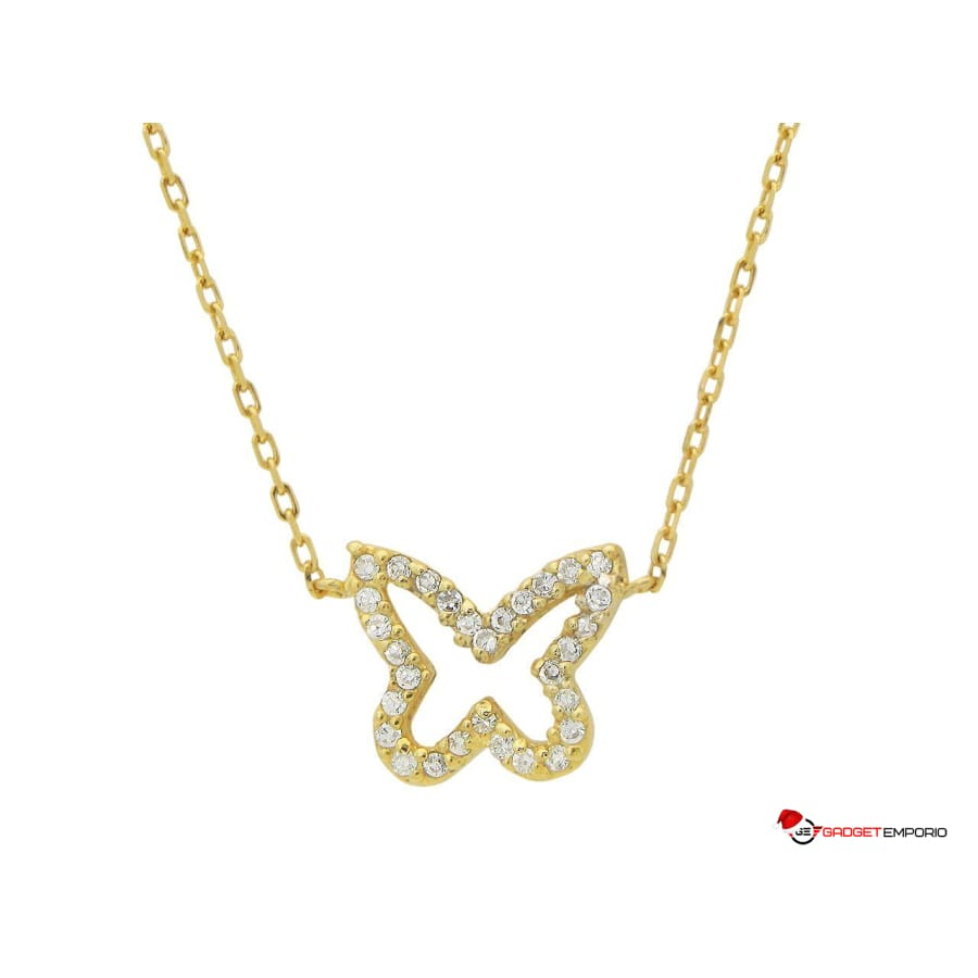Golden Sparkling Open Butterfly Necklace 14k Gold Pendant - GadgetEmporio.com
