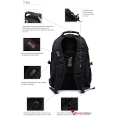 Multi-Layered Backpack w 17.3 Laptop sleeve USB Charging AUX Port Hidden Pockets - TSA Friendly