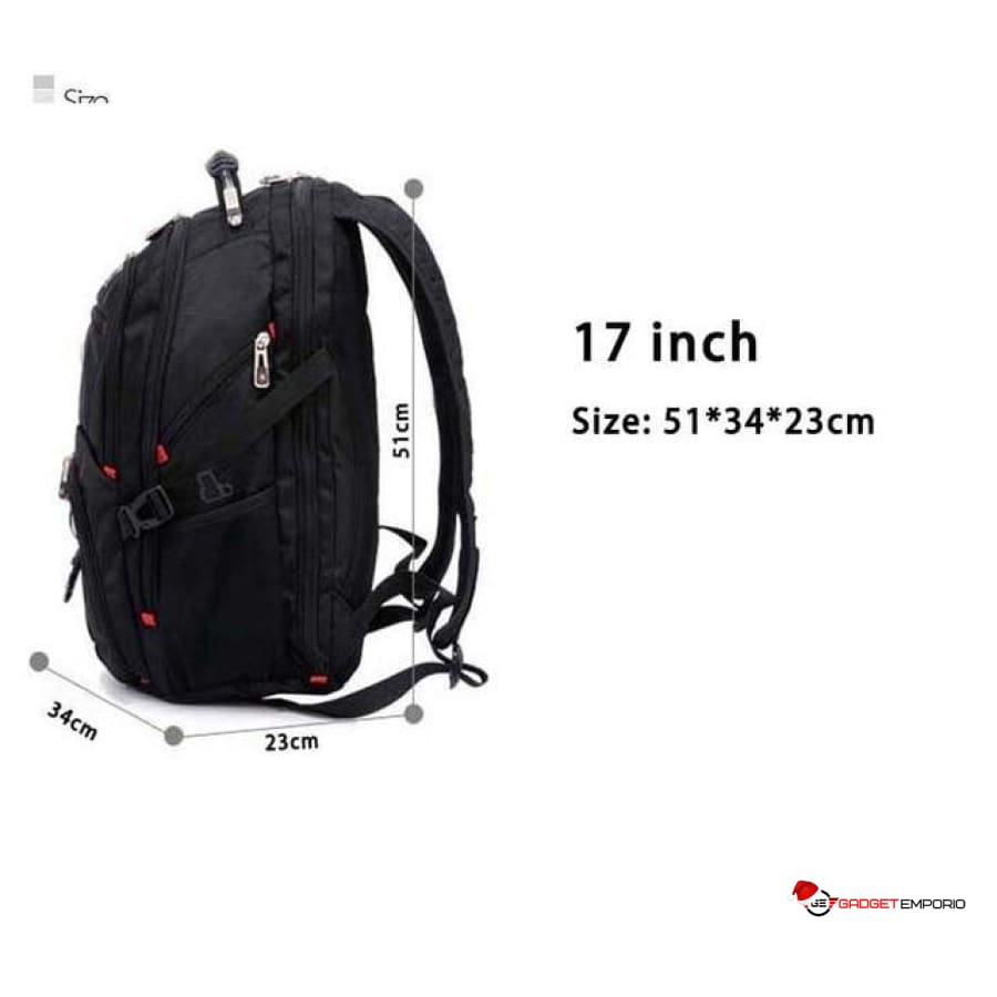 "Multi-Layered Backpack w 17.3"" Laptop sleeve, USB Charging, AUX Port, Hidden Pockets - TSA Friendly - GadgetEmporio.com"