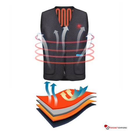 Outdoor Infrared Electric Heated Vest with Inner Thermal Coils - Keep Warm in Winter - GadgetEmporio.com