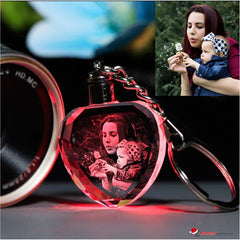 Personalized LED Multi-Colored Crystal Key Chain with Your Engraved Photo for Loved Ones Party Favors Valentines Day & Special Gift Ideas