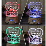Personalized Photo Engraved Crystal Heart with LED Lighted MP3 player Pedestal - GadgetEmporio.com