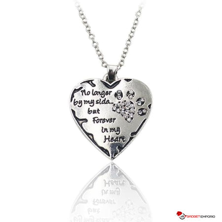 "PET PAW HEART JEWELRY ""No Longer by my Side But Forever in my Heart""  Heart Necklace - GadgetEmporio.com"