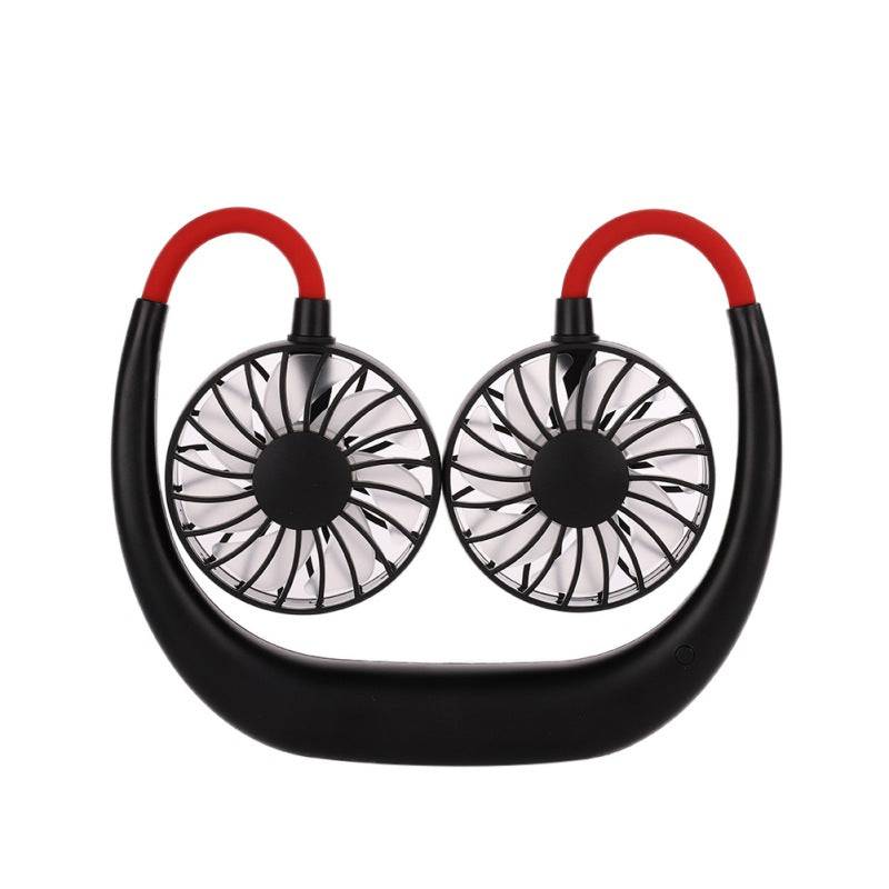 USB Rechargeable Wearable Personal Neck Fan - Double Fans with 3 Speeds - GadgetEmporio.com