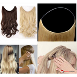 Silky Straight Natural Synthetic 20in 1-Piece Hair Extensions w Invisible Wire No-Clip Hidden Line