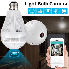 Wireless Panoramic Home Security LED Light Bulb Camera w/ 360 Degree Motion Sensing