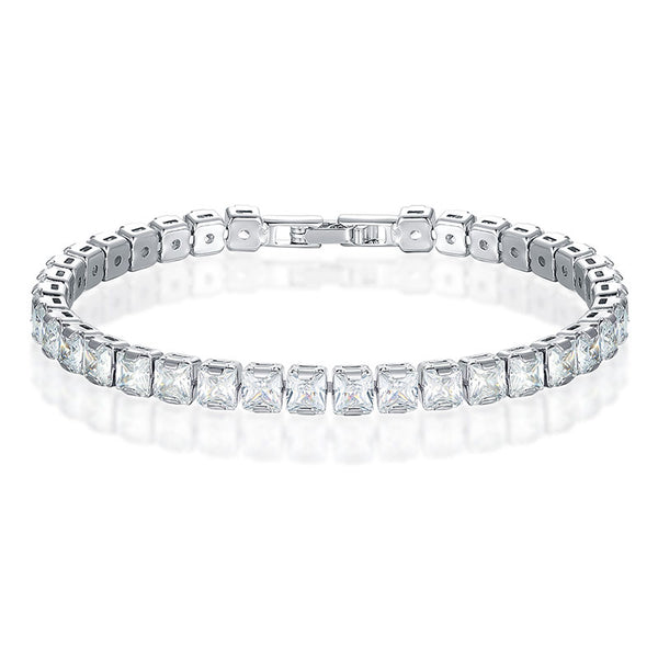 Brilliant Princess Cut Cubic Zirconia Tennis Bracelet for Women - Multiple Colors Available - GadgetEmporio.com