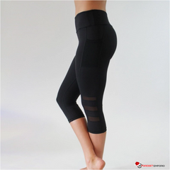 Womens Black Legging with Mesh Cell Phone Pocket Yoga Mid-Calf Capri
