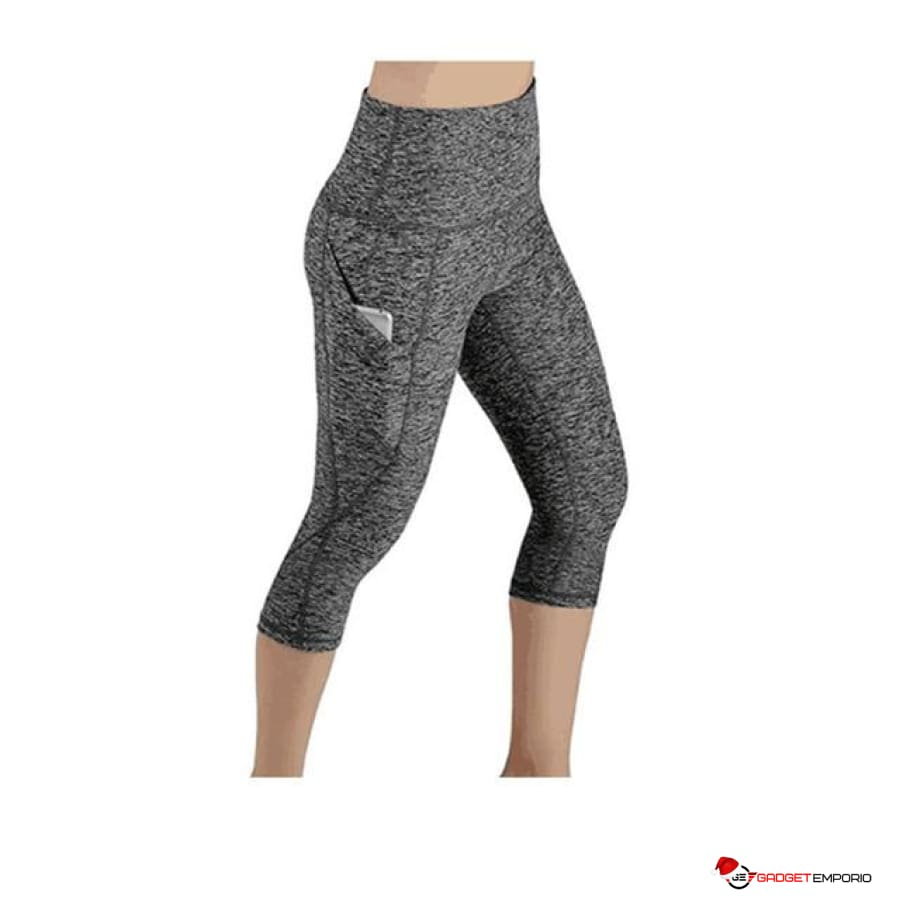 Women's Black Legging with Mesh Cell Phone Pocket, Yoga Mid-Calf Capri - GadgetEmporio.com