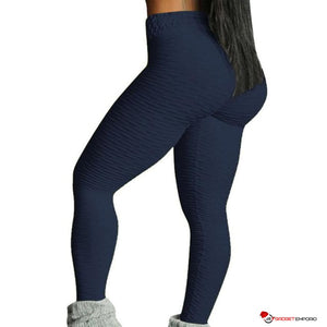 Women's High Waist Textured Yoga Leggings w/ Brazilian Butt Lift & Matching Sports Bra & Shorts - GadgetEmporio.com