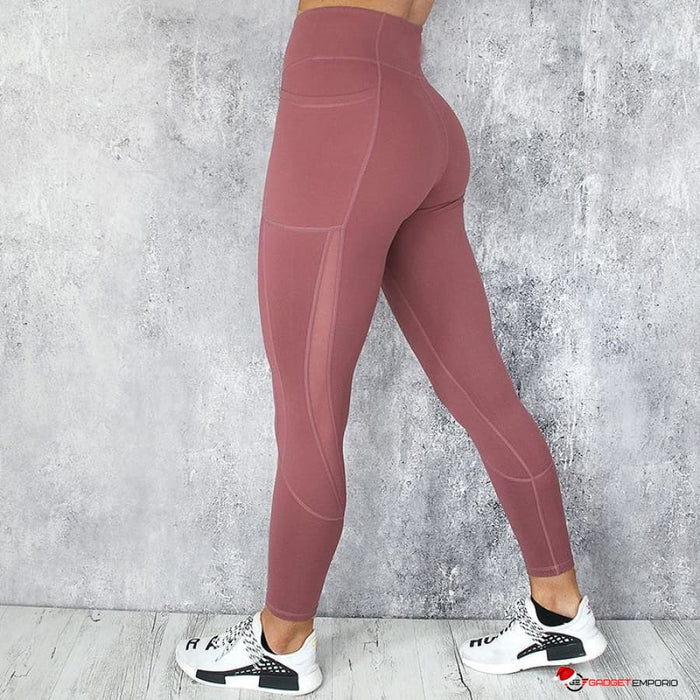 Women's Mesh Pocket High Waist Yoga Fitness Leggings w/ Ruched Brazilian Butt Lift Design - GadgetEmporio.com