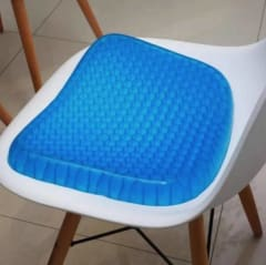 a blue seat sitting in a chair