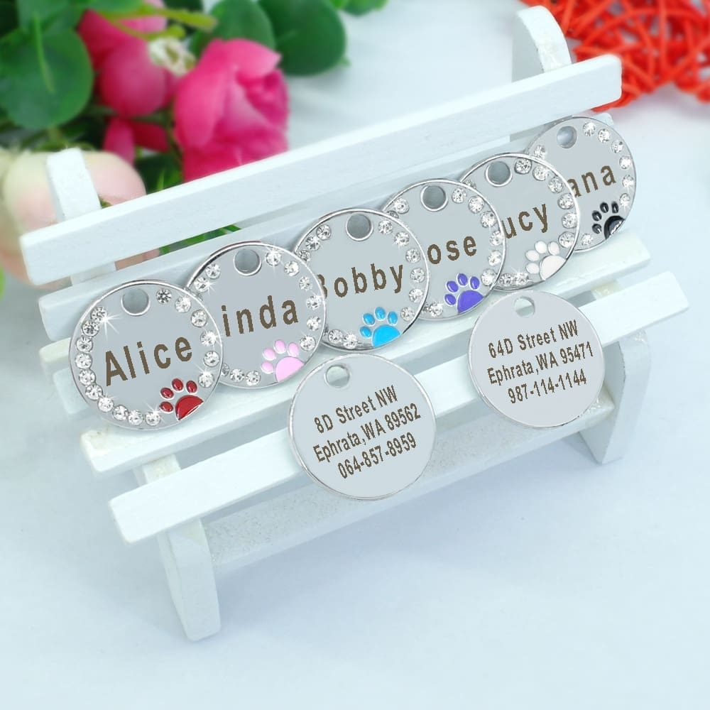 Customized Engraved Stainless Steel Pet Puppy or Cat Name ID Tag for Dog Collar