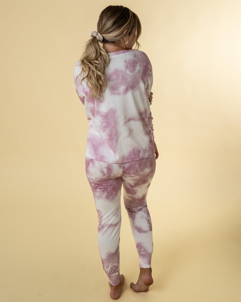 Tie Dye Lounge Set Bottom - Pink