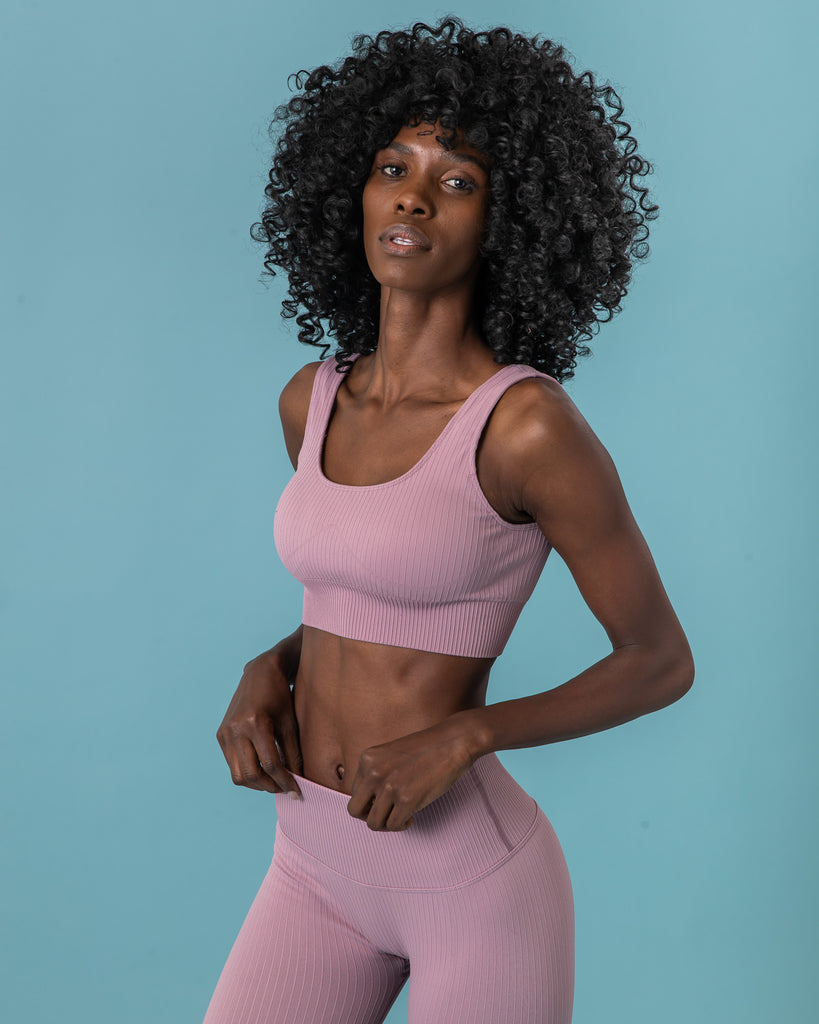 Ribbed Seamless Bra - Mauve