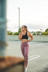 White Cami & Mauve Leggings
