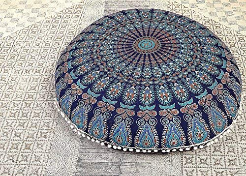 ICC Bohemian Ombre Indian Mandala Pouf / Floor Cushion Cover,Organic Cotton, Hand Printed, 30