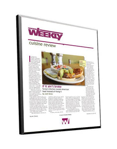 Boulder Weekly Cuisine Review Plaque