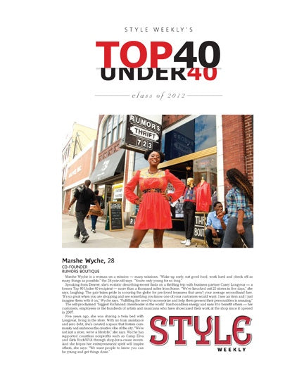 "Style Weekly ""Top 40 Under 40"" Reprint"