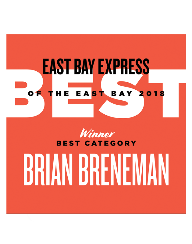 """Best of the East Bay"" Award Window Cling"