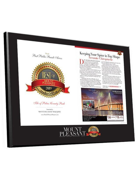 """Best of Mount Pleasant"" Award & Editorial Spread Plaque"