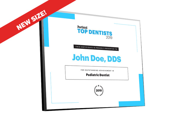 Portland Monthly Top Dentists Award Plaque