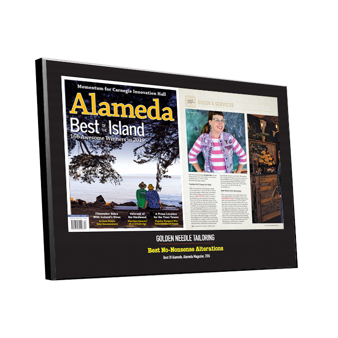 """Best of Alameda"" Cover & Article Award Plaque"