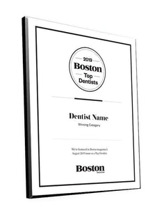 Boston Magazine Top Dentist Plaques