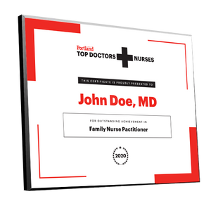 Portland Monthly Top Doctors and Nurses Award Plaque